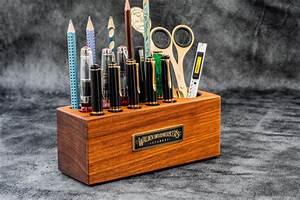 Handmade, Mahogany, Wood, Desk, Organizer, -, Pen, Holder