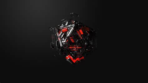 Обои треугольники, красный, черный, Triangles, 3d, Red