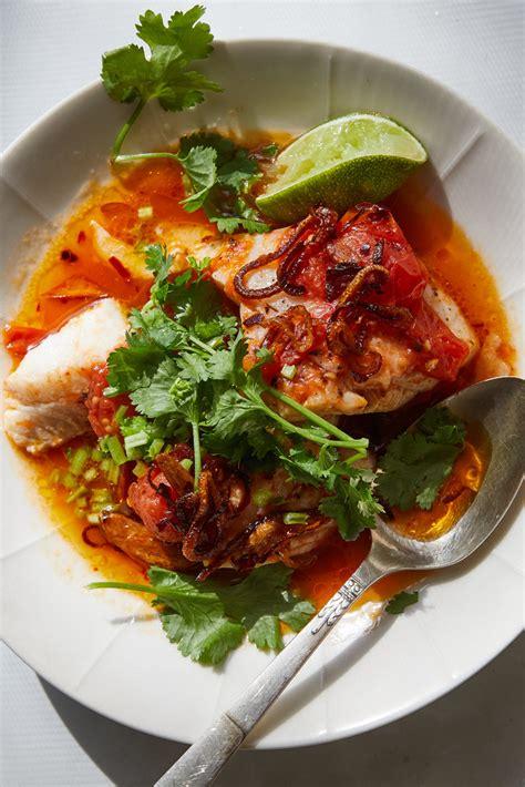alison roman tomato poached fish  chile oil  herbs
