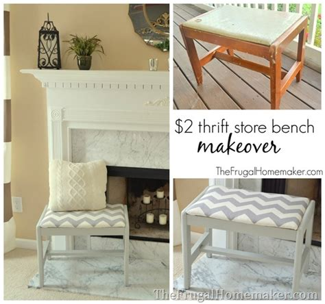 2 thrift store bench makeover gray and white chevron bench