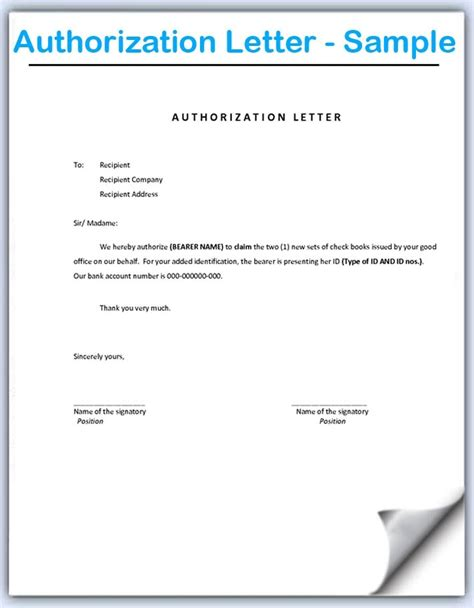 sle of authorization letter consent format