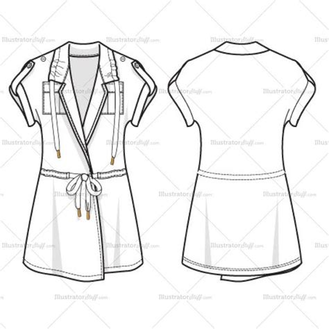 womens utility top fashion flat template illustrator stuff