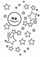 Coloring Stars Moon Printable Accompanied Many Library Popular sketch template
