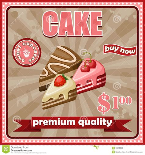 affiche cuisine vintage cake poster stock vector image of birthday