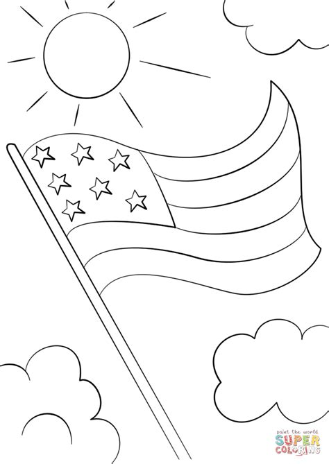 cartoon usa flag coloring page  printable coloring pages