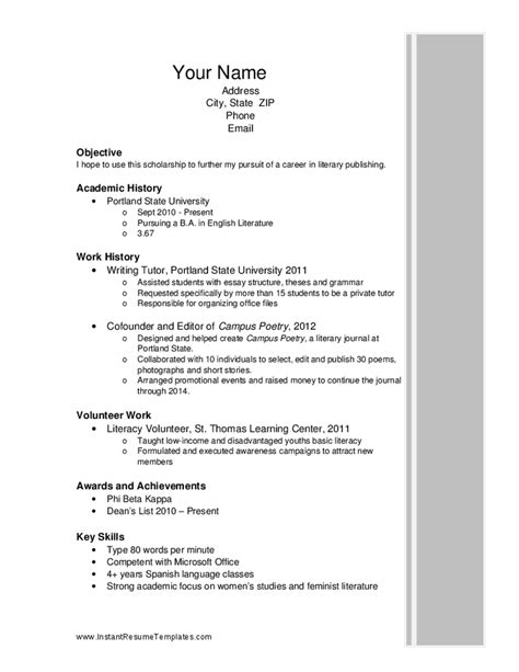 Exles Of High School Resumes For Scholarships by Scholarship Resume Hashdoc