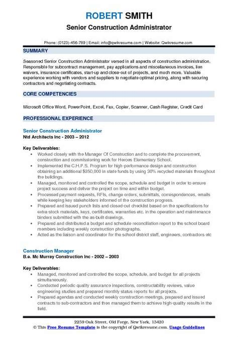 Project Administrator Resume by Construction Administrator Resume Sles Qwikresume