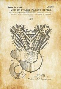 Harley Motorcycle Engine Patent - Patent Print, Wall Decor
