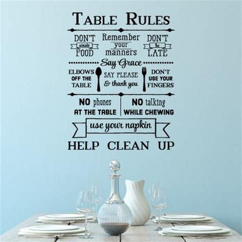 table rules wall quotes� decal wallquotescom