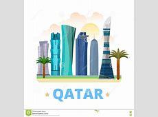 Qatar Country Design Template Flat Cartoon Style W Stock