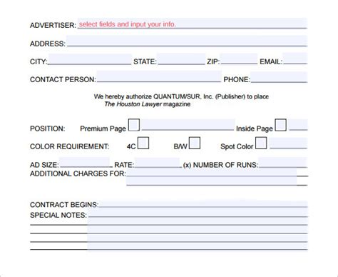 Advertising Contracts Templates 17 Advertising Contract Templates Sles Exles