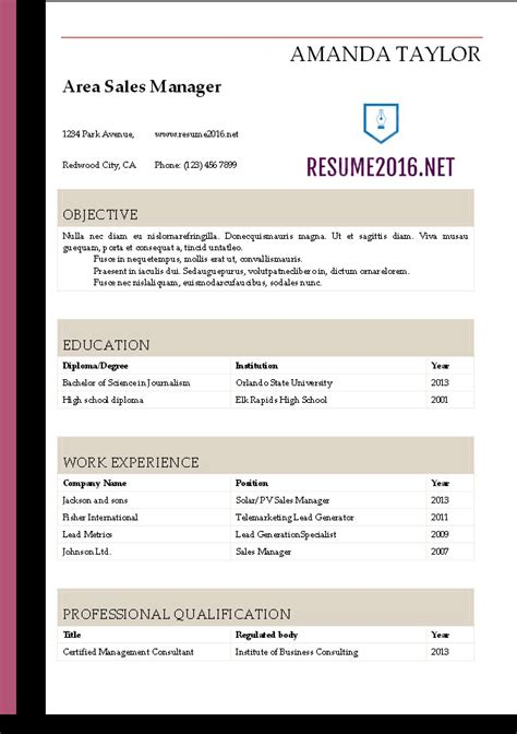 Resume Template 2016 by Resume 2016 Resume Templates In Word