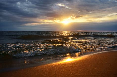 ocean wave  sunset lake michigan hd wallpaper