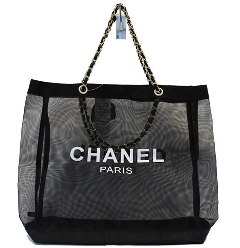 chanel tote bag mesh black travel handbag gold chain