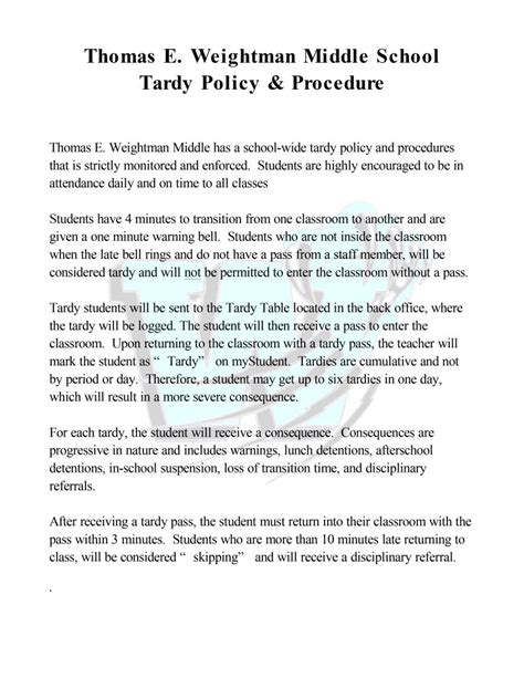 tardy policy thomas  weightman middle school