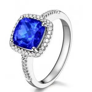 2 carat cushion cut halo engagement rings 2 carat cushion cut blue sapphire and halo engagement ring in white gold jeenjewels