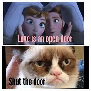 Grumpy cat meets Disney's Frozen; Love is an Open Door ...