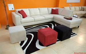 White Black Rug With Assorted Color Puff Also Sofa L F
