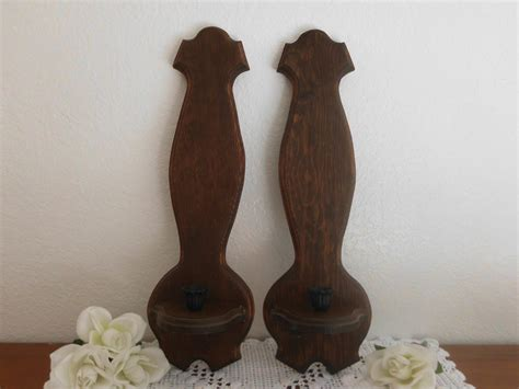 Vintage Candle Holder Wooden Wall Hanging Sconce Mid Century