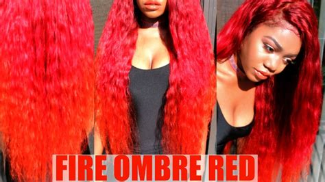 diy fire ombre red red  orange color  black hair