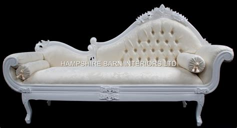 White Large French Ornate Chaise Longue Sofa Event Home