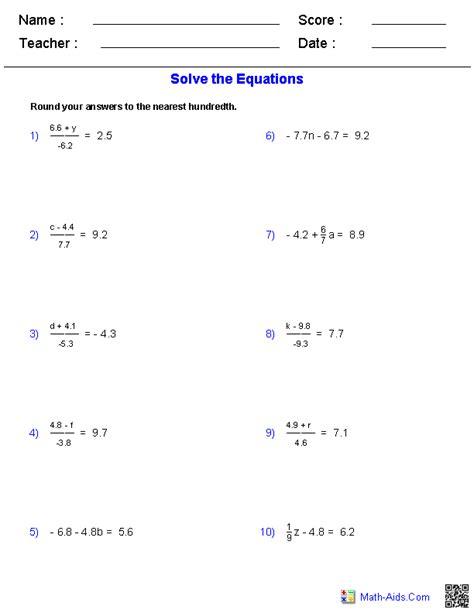 algebra  worksheets equations worksheets