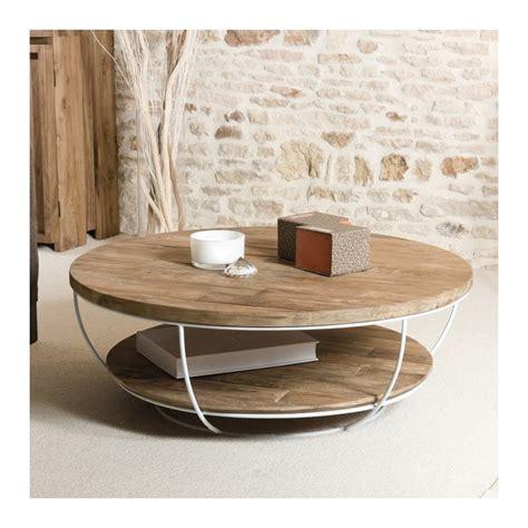 chaises de bureau design table basse ronde bois et métal blanc 100cm tinesixe