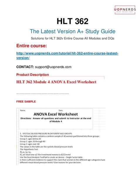 hlt 362 module 4 anova excel worksheet