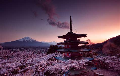 churei tower mount fuji  japan  hd nature