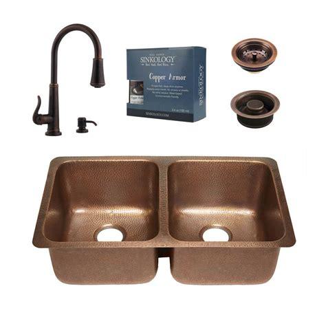 bronze undermount kitchen sink sinkology pfister all in one rivera copper undermount 32 4931
