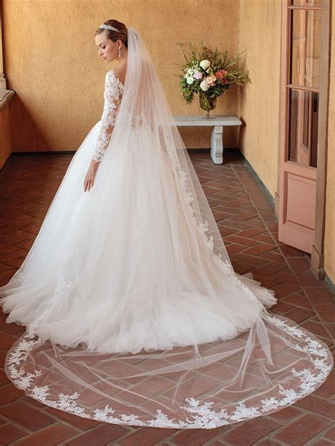 Casablanca Bridal Lace Cathedral Length Veil To Match Lace
