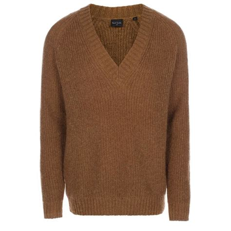 taupe sweater paul smith 39 s taupe merino wool blend v neck sweater in