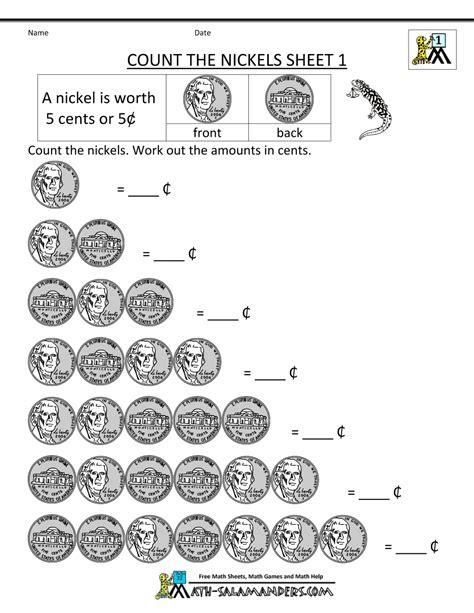 Free Math Money Worksheets 1st Grade