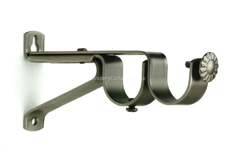 Pewter Double Curtain Rod Brackets