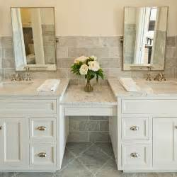 double sink vanity with make up area austin bathroom