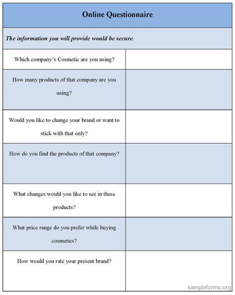 online questionnaire form sle forms