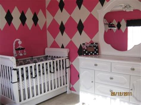 tink pink white  black baby girl nursery decor