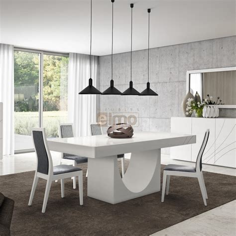 table de cuisine pied central table repas contemporaine pied central laque ou bois carrie