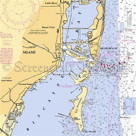 florida miami miami beach nautical chart decor