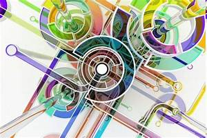 Digital, Art, Abstract, Circle, Colorful, 3d, Lines, White
