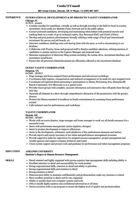 Talent Resume by Talent Coordinator Resume Sles Velvet