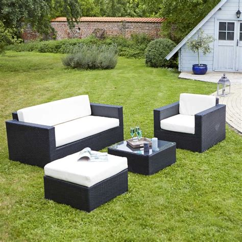 canapé repose pied salon de jardin en résine tressée nando noir teckandco