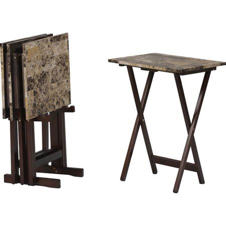linon home decor products  tray table set brown faux