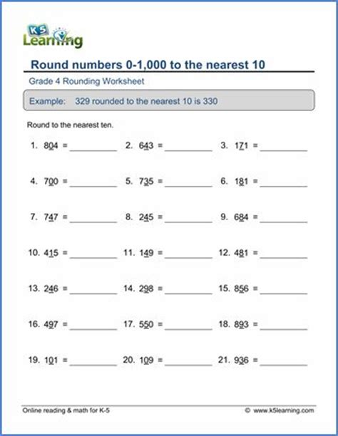 grade 4 place value rounding worksheet round 3 digit numbers to the nearest 10 age 9 11 math
