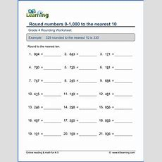 Grade 4 Place Value & Rounding Worksheet Round 3digit Numbers To The Nearest 10  Age 911 Math