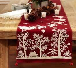 sleigh bell crewel embroidered table runner pottery barn
