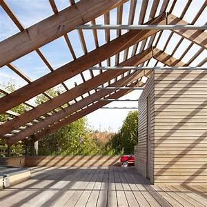 maison en bois toiture terrasse pergola bois maison With toiture terrasse en bois