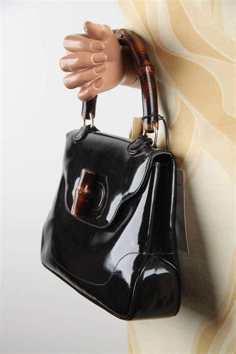 gucci italian vintage black patent leather bamboo bag handbag purse rare  stdibs