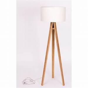 Lampadaire Bois Et Blanc : lampadaire trepied bois massif abat jour blanc ragaba ~ Dailycaller-alerts.com Idées de Décoration
