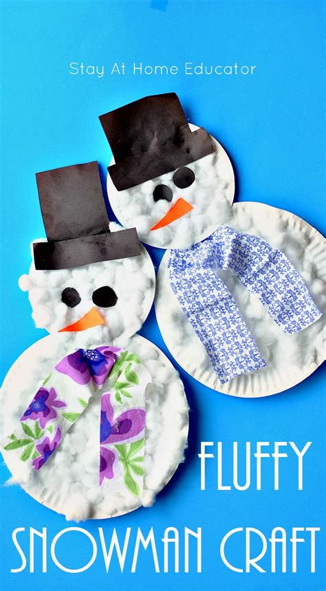 fluffy paper plate snowman craft stay at home educator 297 | fluffy snowman craft for toddlers and preschoolers... Stay At Home Educator